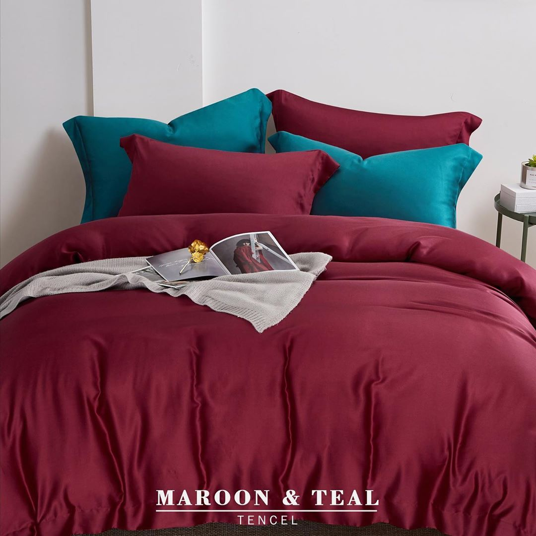 Maroon and Teal - Tencel Bedding Set